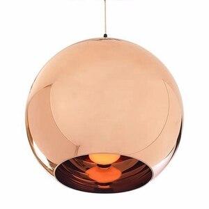 Image 2 - Lukloy lâmpada pendente de bola de vidro, estilo moderno, espelhado, de cor de cobre, iluminação moderna, luminárias 1 peça