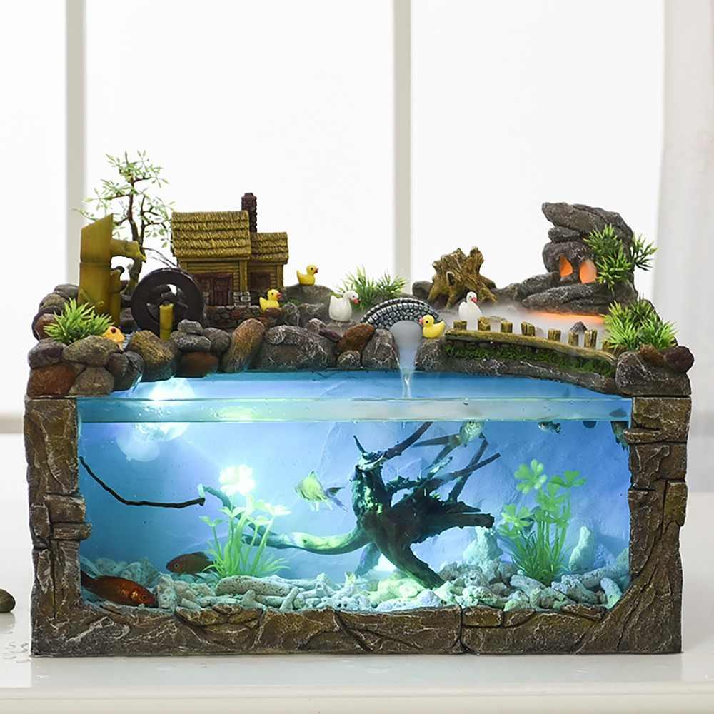 Ecological Fish Tank Desktop Home Fountain Landscape Aquarium Wind Water Wheel Ornaments Office Decorations Retro Chinese Europe Aliexpress