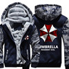 2017 New Resident Evil 6 Hoodies Warm Male Jackets Winter Casual Hoodies Men Thicken Zipper Hooded