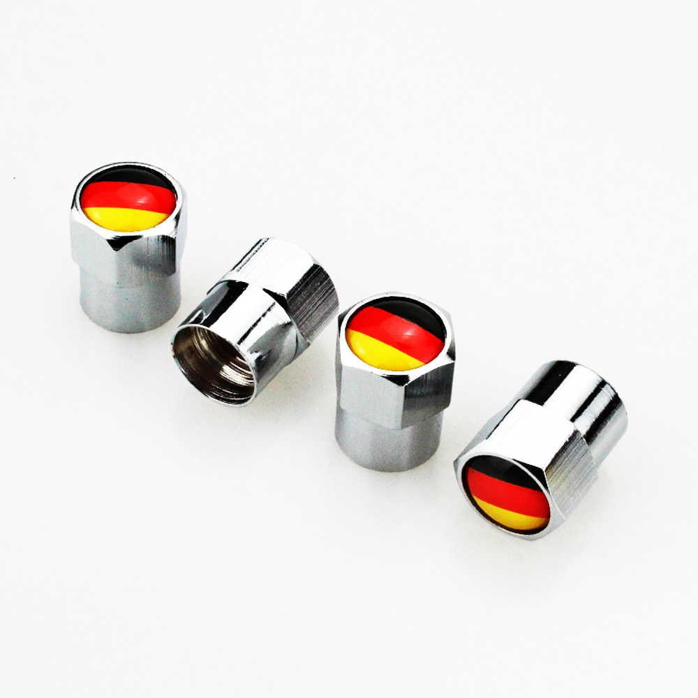 4 X metalowy samochód zawór opony czapki obejmuje niemiecka flaga Logo akcesoria samochodowe do Audi A1 A3 A4 A5 A6 A7 Q3 q5 Q7 RS3 RS5 inteligentny