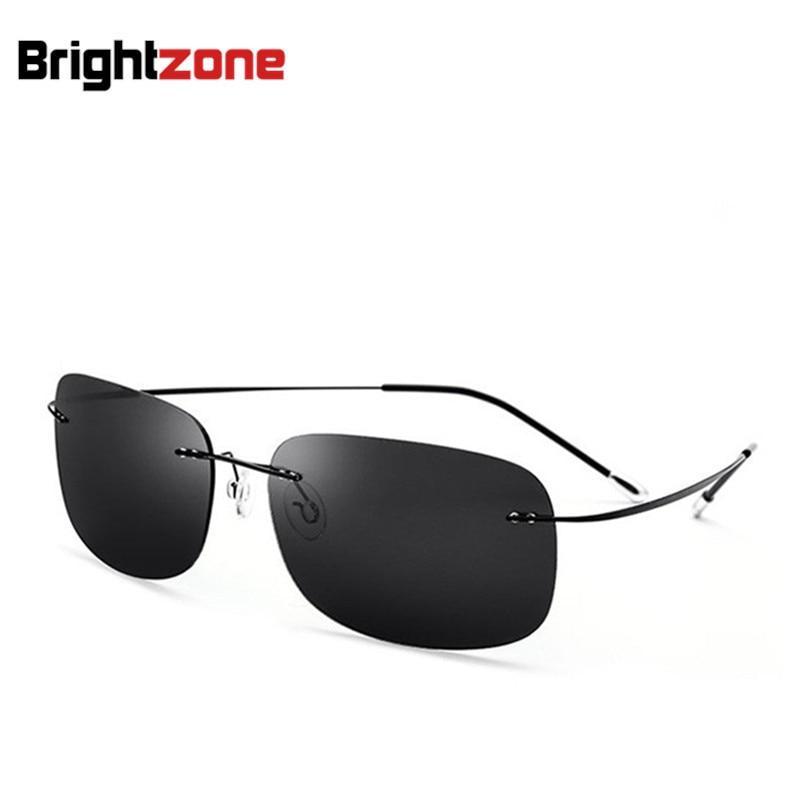 2018 New Arrival Ultra-light Fashion Rimless Polarized Titanium Classic Out-door UV400 Sunglasses Eyeglasses Sun-shade Glasses