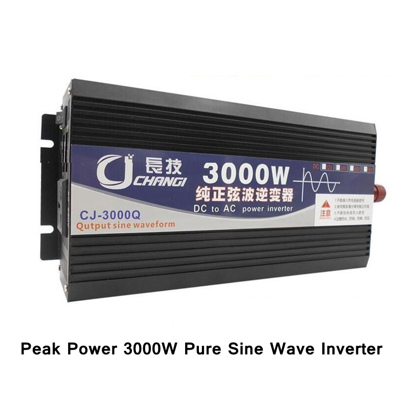 Peak Power 3000W Pure Sine Wave Inverter DC 12V/24V to AC 110V 60HZ Power Converter Dual LCD Display/7 Protections Inverter fast shipping dc to ac 12v to 220v pure sine wave inverter 5000w peak 10000w inverter pure sine wave power converters