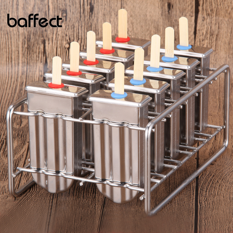 Congelado de acero inoxidable Popsicle Moldes Ice Cream Stick Holder 6 Moldes Plata Hogar DIY Moldes para helados Redondo / Plano Ice Pop Mold