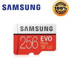 SAMSUNG EVO + Micro SD 256G SDHC 100 เมกะไบต์/วินาทีเกรด Class10 การ์ดหน่วยความจำ C10 UHS I TF/SD การ์ด trans Flash SDXC 64 GB 128 GB สำหรับการจัดส่ง