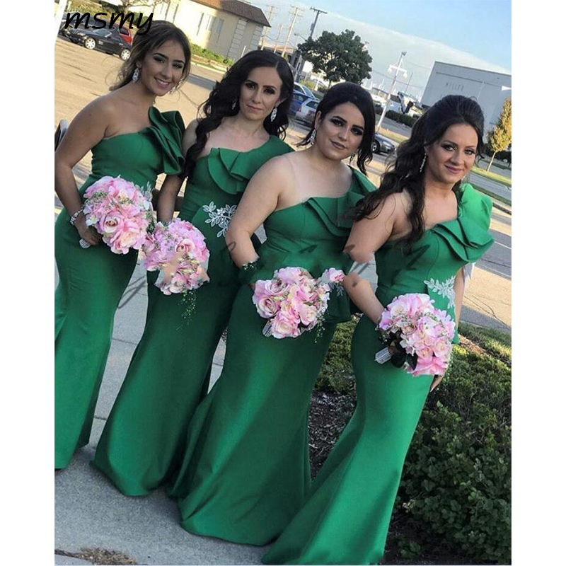 New Green One Shoulder Bridesmaid Dresses Sheer Mesh Pleats Floor Length Elastic Satin Wedding Guest Maid Of Honor Dress