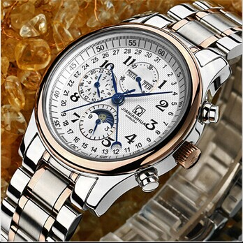 Switzerland Carnival Famous Brand Watch Luxury Automatic mechanical Men Watch Rose Gold Case Blue Dial Leather Strap Moon Phase