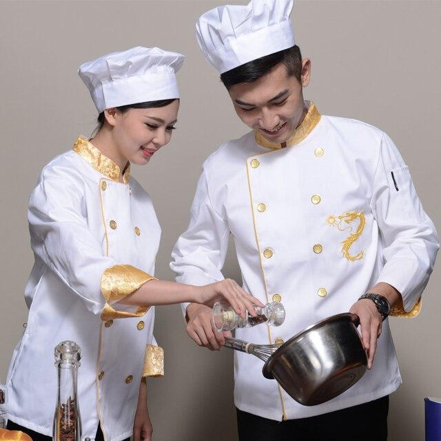 Servizi di ristorazione cuoco chef uniforme giacca drago cinese di stampa  ristorante cameriera uniformi degli uomini 2f8404d4247a