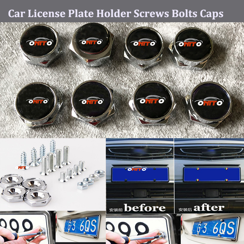 For bmw skoda audi Volvo Prosche Toyota Nissan VW Car License Plate Holder Screws Bolts Badge Emblem logo Caps Accessories