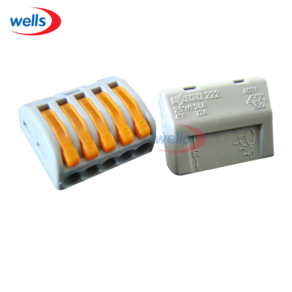 LED 20 Pcs 5pin WAGO PCT215 Universal Compact Wire Wiring Connector 5 Pin Conductor Terminal Block