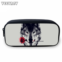 VEEVAN Animal Wolf Printing Case Holder Casual Cosmetic Bags Cute Animal Purses Kids Wallets School Case