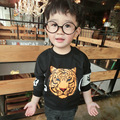 2017 Brand New Kids Soft Cotton Clothes Children Cool Cartoon Tiger Printed Green/Black High Quality Long Sleeve Hoodies 2 Color