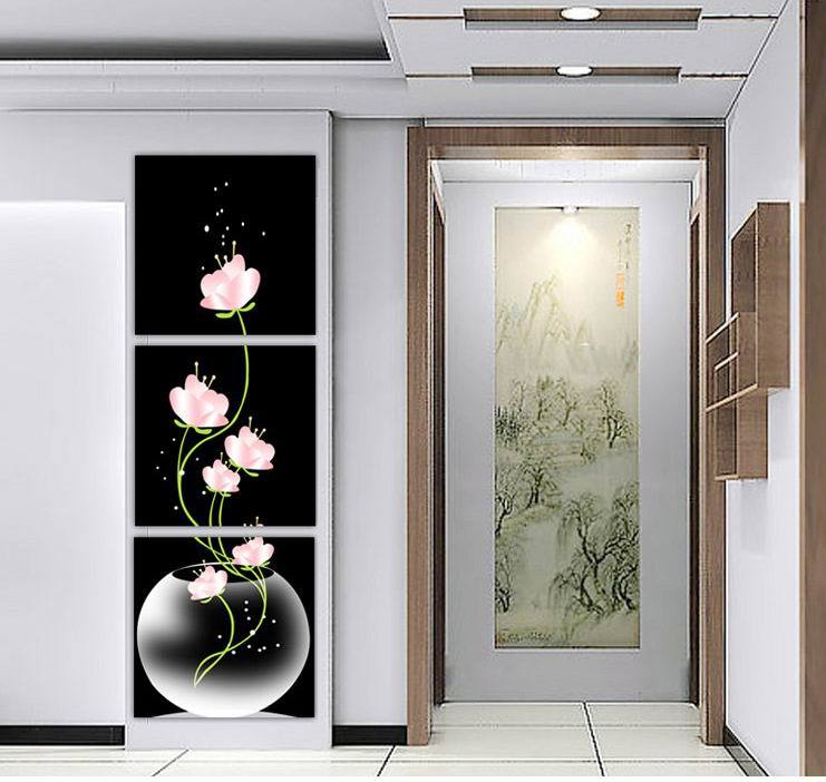 Beautiful Flowers Printed On Canvas For Entryway Black