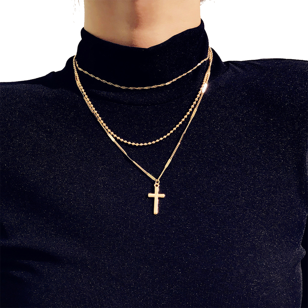 Vienkim Trendy Gold Color Layered Necklace Choker Chain Boho Simple Cross Pendant Necklace For Women Jewelry Friendly Gift 2019