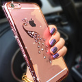 Para iphone 6 s case glitter diamante limpar tpu tampa cisne pavão cristal rhinestone silicone case para iphone 6 6 s plus Fundas
