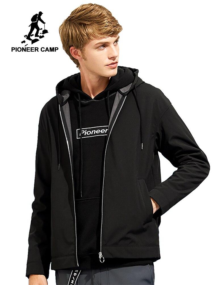 Пионерский лагерь водонепроницаемая куртка мягкая оболочка пальто брендовая мужская одежда с капюшоном черное флисовое теплое пальто муж...