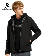 Pioneer Camp softshell waterproof jacket for men brand-clothing hooded black casual coat male windbreaker top quality AJK702376