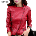 SZMXSS Plus Size M-5XL Mulheres 2016 Outono Inverno Moda Casaco De Couro Feminino Rebite Jaqueta De Couro Fino Outerwear das Mulheres