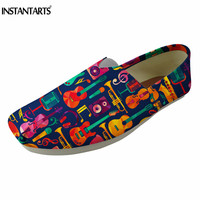 INSTANTARTS 3D Cartoon Guitar Printing Women Flat Shoes Summer Slip On Canvas Lazy Shoes Breathable Cotton Loafer Shoes Female