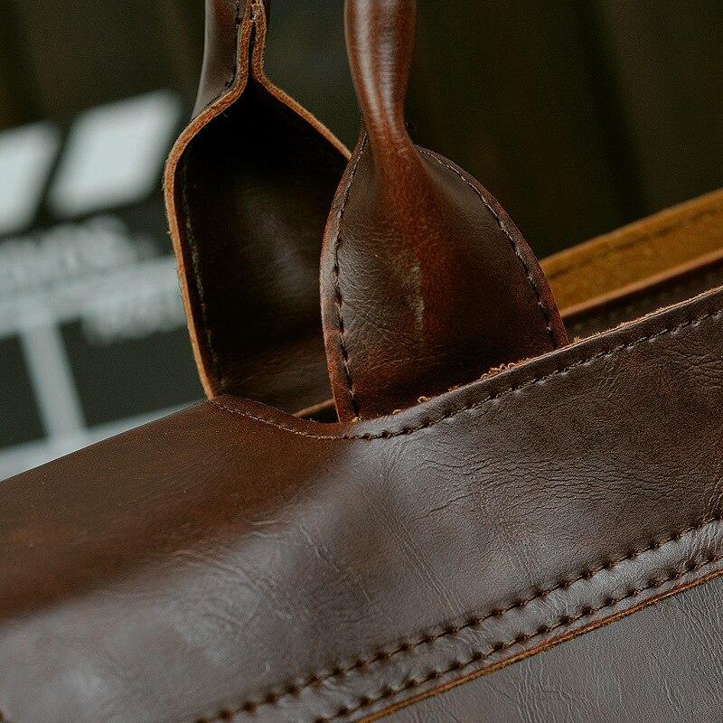 Retro Men's Briefcase Crazy Horse Leather Laptop Handbag Designer Shoulder Bags Business Messenger laptop Bag men Crossbody bags