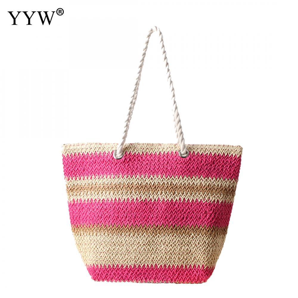 Casual Women Shopping Bags Caddice Top-Handle Bags Weave Shoulder Bag For Women Designs Contrast Color Striped Large Handbags