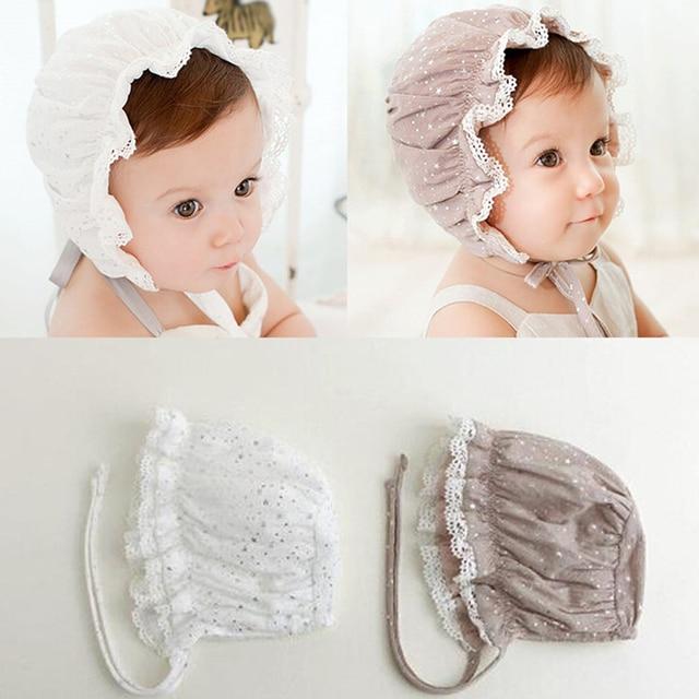Bebé corte Niñas sombrero infantil Encaje borde gorros newborn fotografía  Accesorios niño Sol casquette enfant touca infantil en Sombreros y ...