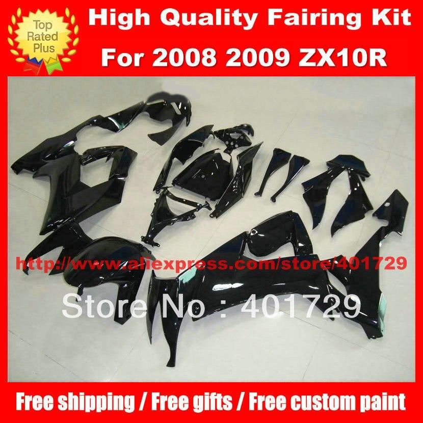 Free custom paint fairing set for Ninja ZX 10R 2008 2009 ZX 10R 08 09 ZX10R 08 09 glossy black high grade bodywork set