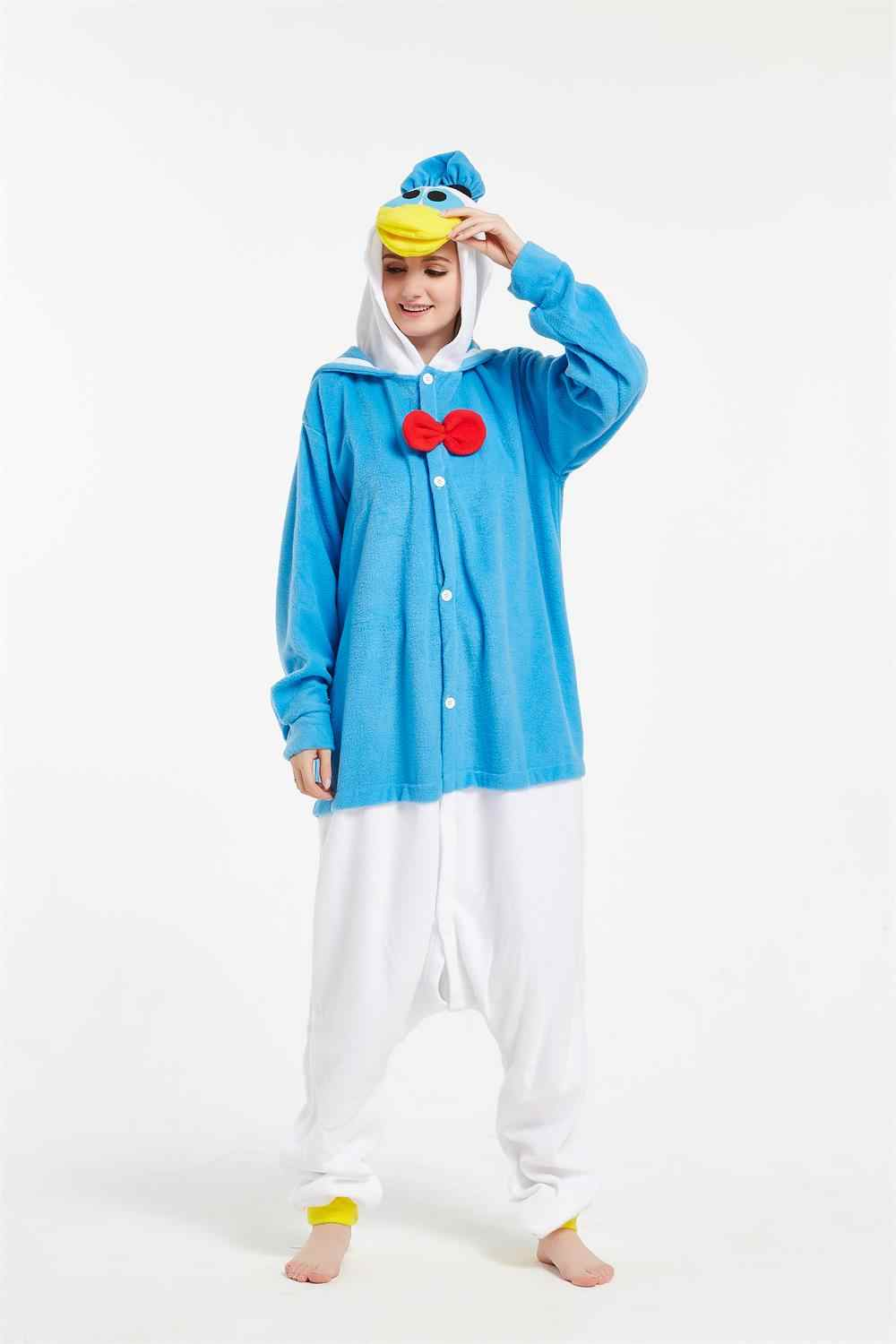 Detail Feedback Questions about Kigurumi Adult Anime Cosplay Costumes  Cartoon Donald Duck Onesie Unisex Pajamas Sleepwear Party Pyjamas For Women  Man on ... 22a0e5d81