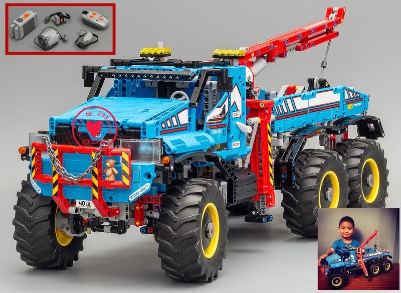 Nouveau moteur de piste RC fonction tout Terrain 6X6 télécommande voiture fit legoings technic camion modèle blocs de construction briques jouet
