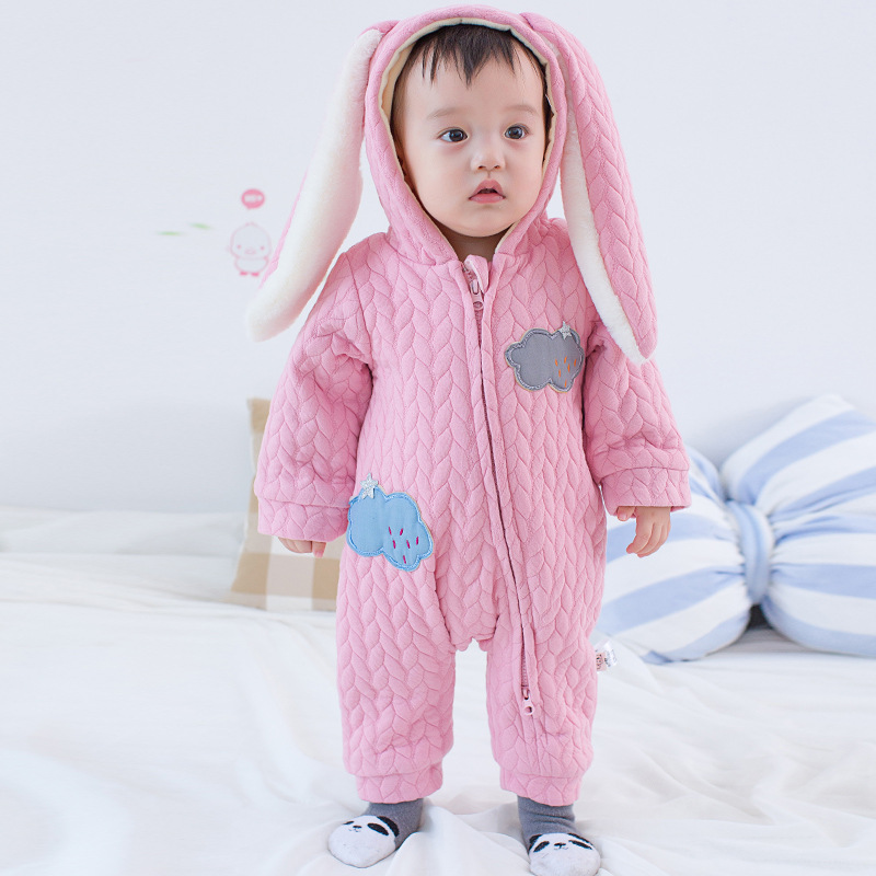 Baby winter rompers girls boys christmas baby clothes solid blue pink color cute cartoon rabbit design baby clothing cotton baby rompers set newborn clothes baby clothing boys girls cartoon jumpsuits long sleeve overalls coveralls autumn winter