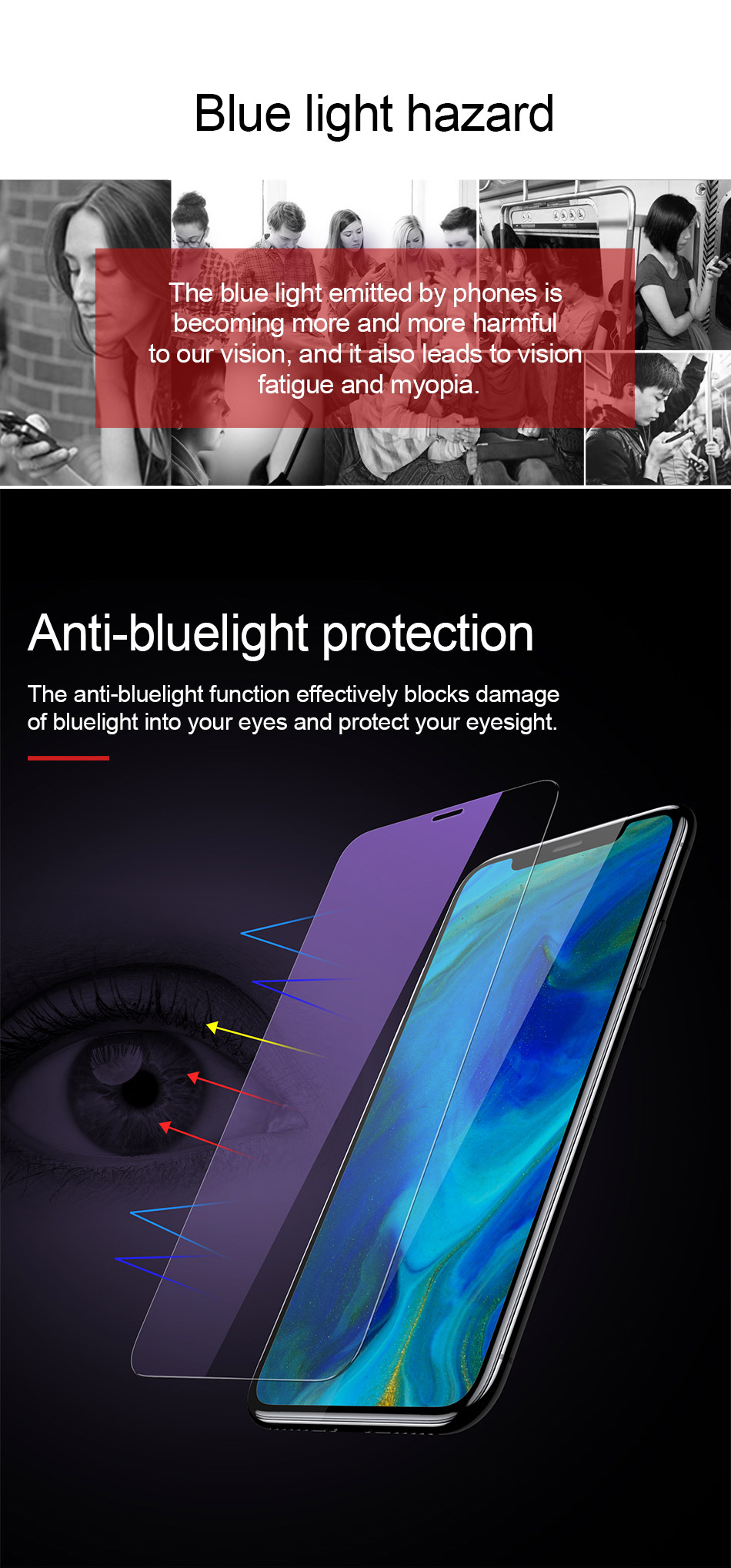 Baseus 0.15mm Super Thin Screen Protector For iPhone Xs Max Xs XR Glass Film 2018 Anti Blue Light Tempered Glass For iPhone X