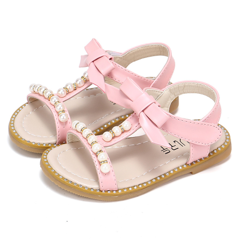 SAGACE girls 2018 shoes for babies Kids Baby Girls Sandals Bowknot Pearl Crystal Roman Sandals Princess summer boots Sandals