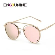ENSUNINE Primera Marca de Lujo Mujeres Ronda Retro gafas de Sol 2017 de la Alta Calidad Del Marco Del Metal gafas gafas lentes gafas de sol hombre UV