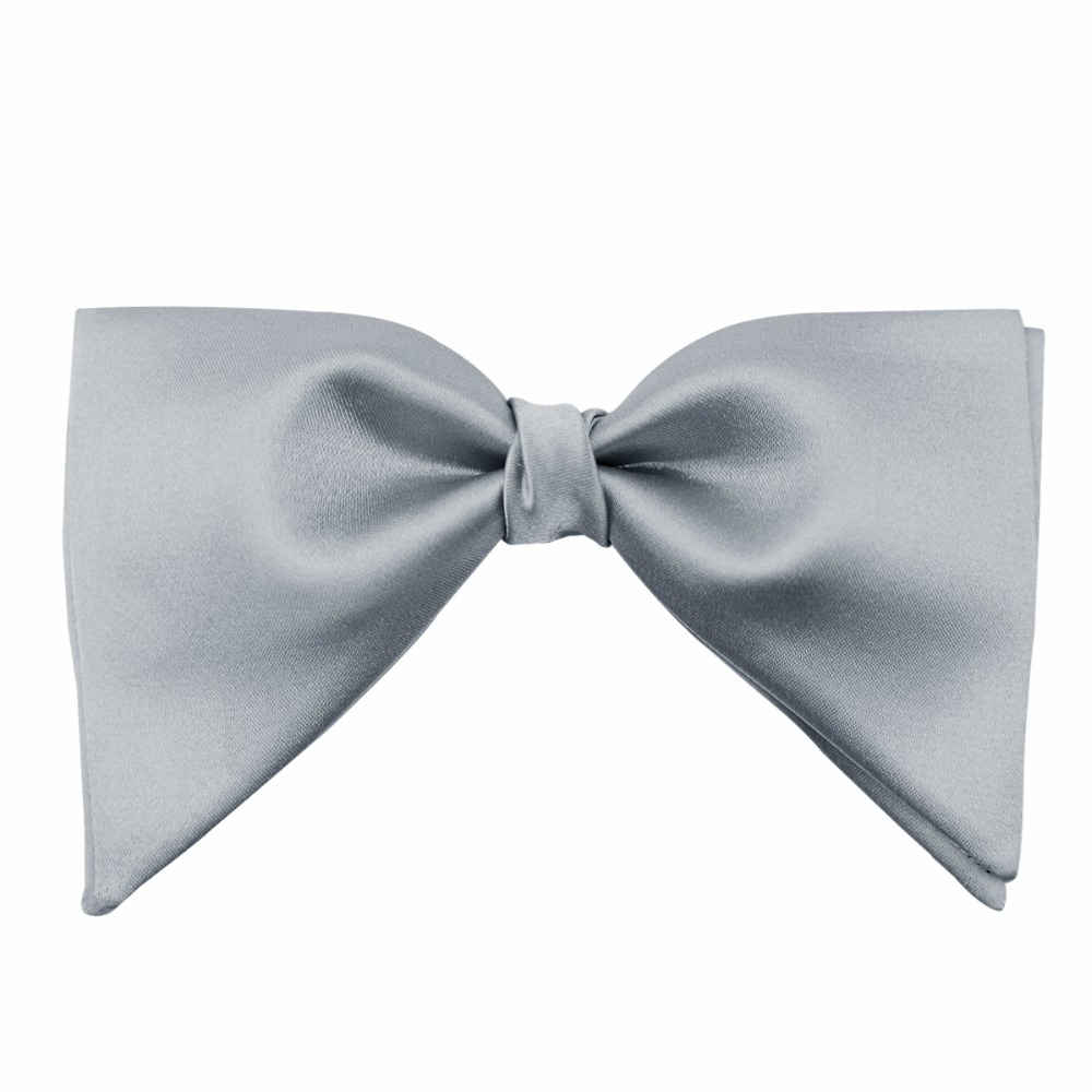 PenSee Velvet Silk Big Bowties for Mens Groom Wedding Over Size Bow Tie Solid Color Gravatas Slim Gray Cravat Formal Business