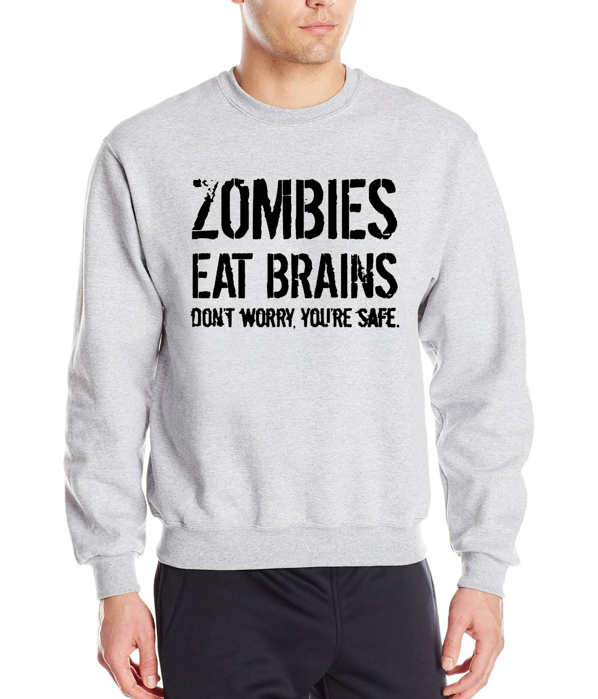 Zombies Eat Brains , You Are Safe 2019 spring winter hip hop sweatshirt men fleece high quality  hoodies loose fit tracksuit