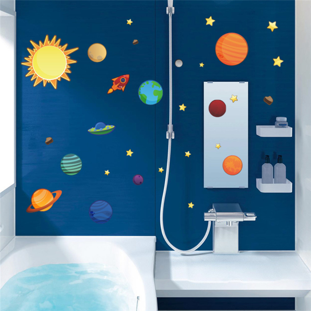 2016 New Creative Solar System Wall Stickers Plane Wall Paper Kids ...
