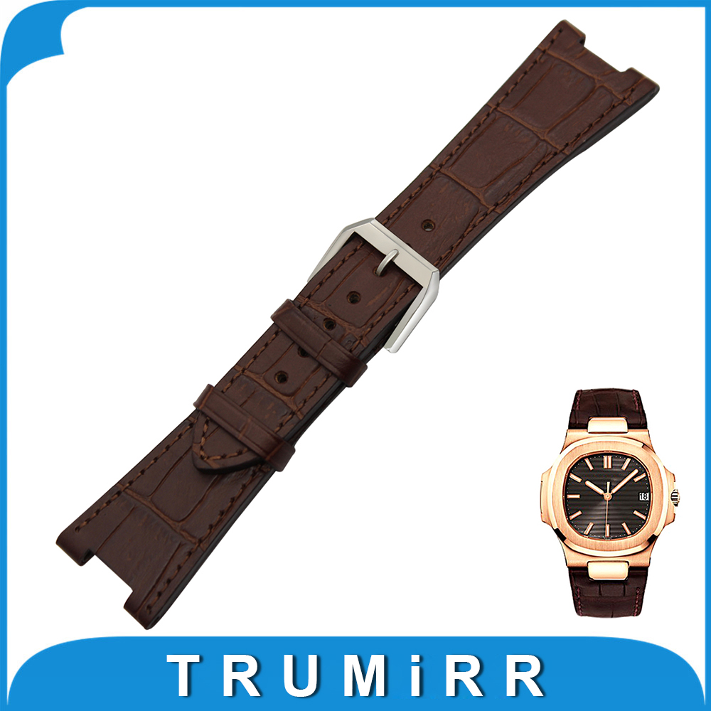 Top Layer Calf Genuine Leather Watchband 25mm x 12mm for Patek Philippe Notch Watch Band Steel Buckle Strap Wrist Bracelet Brown top layer cowhide genuine leather watchband for swatch men women watch band wrist strap replacement belt bracelet 17mm 19mm 20mm