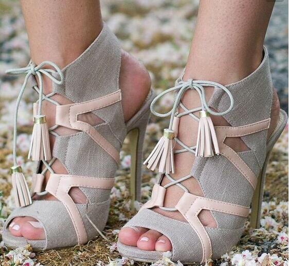 Top Summer New Brand Women Patchwork Cuts Out Gladiator Cross Lace Up Peep Toe 100 mm High Heels Party Thin Heels Sandals ShoesTop Summer New Brand Women Patchwork Cuts Out Gladiator Cross Lace Up Peep Toe 100 mm High Heels Party Thin Heels Sandals Shoes