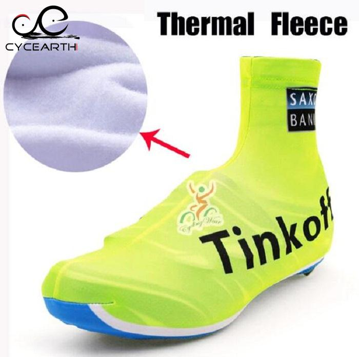 Winter fleece Thermal 2016 Tinkoff Pro Team Fluorescent Green Cycling MTB Bike Cycling Shoes Cover Racing