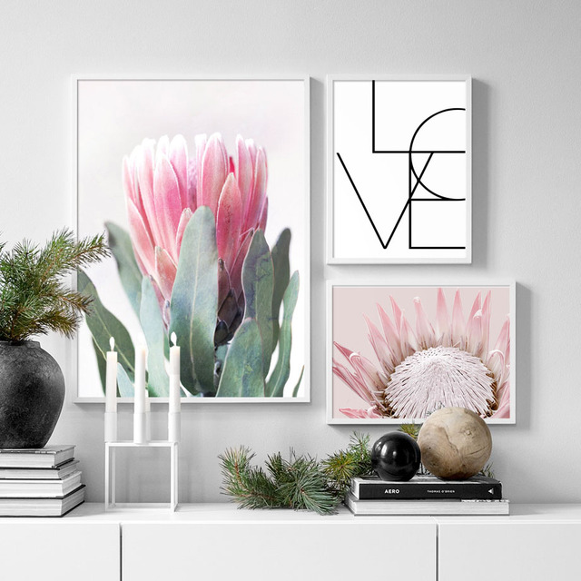 Pink Tulip Love Quote Nordic Posters And Prints Flower Wall Art