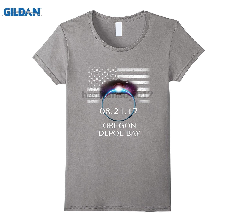 GILDAN Solar Eclipse 2017 Depoe Bay Oregon USA Sun Moon T Shirt sunglasses women T-shirt