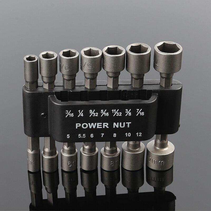 14 piezas neumático fuerte Power Nut Driver Drill Bit Set 1/4