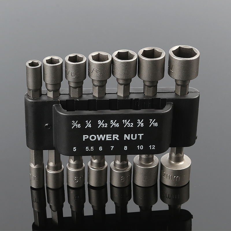 14pcs Pneumatic Strong Power Nut Driver Drill Bit Set 1/4 Hex Shank SAE Metric Socket Wrench Screw One-piece Hand Tool Kit