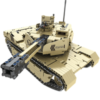 Modern military Armed desert lion army forces 2.4Ghz radio remote control tank building block with shooting model bricks