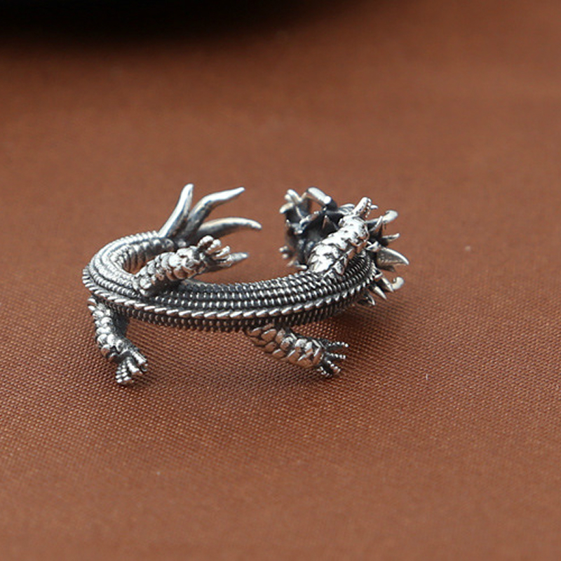 S925 sterling silver jewelry personality handmade retro Thai silver domineering Dragon personality creative trend opening ring