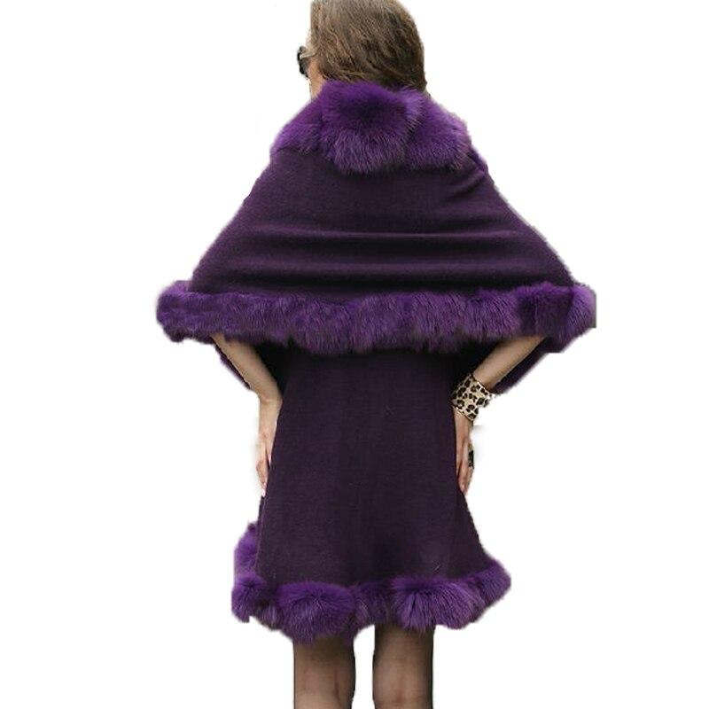 Renard Femmes De Violet Fourrure Stretch Femelle Réel Poncho Châle Lady Pélerine Bavures Manteau FBgSn11