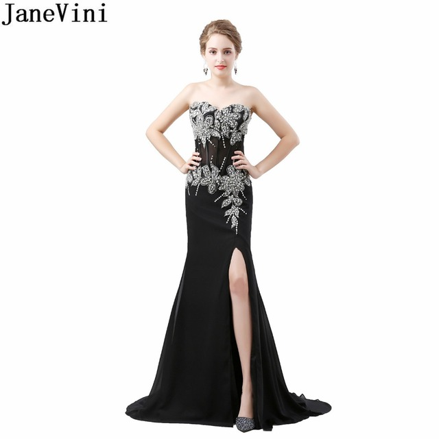 JaneVini 2018 Sexy Side Split Wedding Party Bridesmaids Dresses for Women  Black Beaded Mermaid Long Dress Formal Vestido De Gasa 31cc4d90fe2b