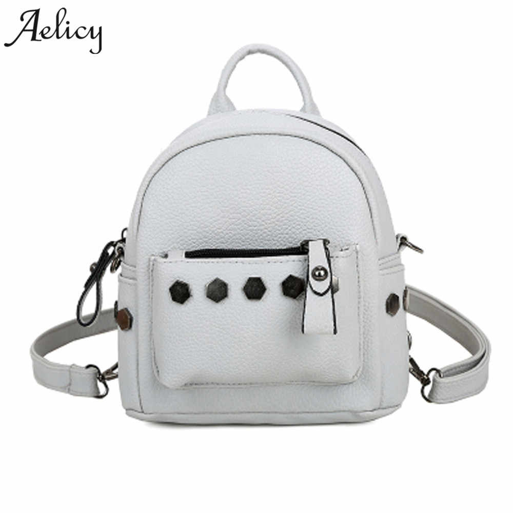 e57869d37c50 Aelicy New 2018 Women Backpacks High Quality Small School Bags For Teenage  Girls Pu Leather Rivet