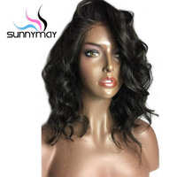 Sunnymay Short Wavy Lace Front Human Hair Wigs Peruvian 130 Density Side Part Pre Plucked Lace