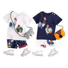 Neue Sommer Baby Set Junge Im Jahr 2018 Kleidung Sets Lustige Hahn Muster Blau & Weiß Kurzarm Baumwolle Neuheit Kinder Kleidung Für Kind