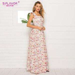 Image 3 - Sabor francês estilo floral impresso vestido feminino 2020 venda quente sem mangas magro verão longo vestidos maxi casuais